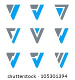 Abstract logo templates for V, W, Triangle shapes. Business icon set - stock vector