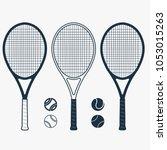 tennis racket and ball  gear... | Shutterstock .eps vector #1053015263