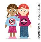 kids of different ethnicities... | Shutterstock .eps vector #1053018833