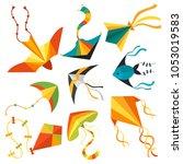 flying kite snake serpent...   Shutterstock .eps vector #1053019583