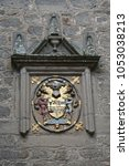 "Small photo of The Campbell arms and motto ""Be Mindful,"" at the entrance to Cawdor Castle (c. 1380) in the Highlands of Scotland."