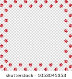 square frame made of red animal ... | Shutterstock .eps vector #1053045353
