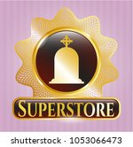 gold emblem with tombstone... | Shutterstock .eps vector #1053066473