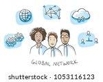 happy multi ethnic business... | Shutterstock .eps vector #1053116123