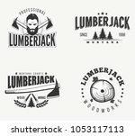 retro lumberjack badges vector... | Shutterstock .eps vector #1053117113