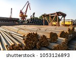 steel and jack in wharf... | Shutterstock . vector #1053126893