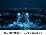paris city skyline rooftop view ... | Shutterstock . vector #1053163583