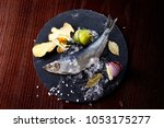 herring entirely with ginger... | Shutterstock . vector #1053175277