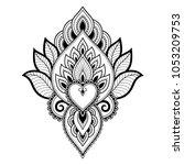 mehndi flower pattern for henna ... | Shutterstock .eps vector #1053209753