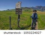 alpe di siusi plateau ... | Shutterstock . vector #1053224027