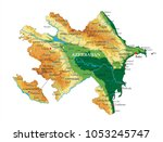 azerbaijan relief map | Shutterstock .eps vector #1053245747