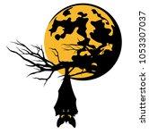 bat hanging on tree branch... | Shutterstock .eps vector #1053307037