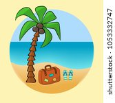 vacation at sea  brown suitcase ... | Shutterstock .eps vector #1053332747