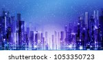 illustration of the night city... | Shutterstock . vector #1053350723