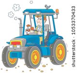 smiling worker driving his... | Shutterstock .eps vector #1053370433