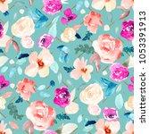 jewel toned watercolor floral... | Shutterstock . vector #1053391913