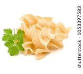 Small photo of Italian twisted pasta fusilli isolated on white background. Fusilloni, rotini.
