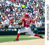 Small photo of WASHINGTON - JUNE 16: Jordan Zimmerman pitches during the Washington Nationals - New York Yankees game, which the Yankees won after 14 innings of play, on June 16, 2012 in Washington, D.C.