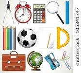 collection of school supplies | Shutterstock .eps vector #105341747