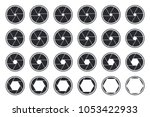 set of black camera shutter... | Shutterstock .eps vector #1053422933