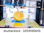 ripe slice of yellow lemon... | Shutterstock . vector #1053430643