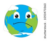 sad earth emote. earth day | Shutterstock .eps vector #1053473363