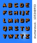 vector orange volumetric font.... | Shutterstock .eps vector #105348953