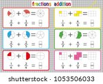 fractions addition  printable... | Shutterstock .eps vector #1053506033