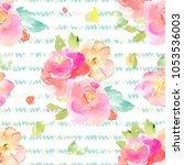 modern  seamless watercolor... | Shutterstock . vector #1053536003