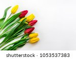 bouquet of yellow and red... | Shutterstock . vector #1053537383