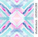 watercolor geometric pattern... | Shutterstock . vector #1053541283