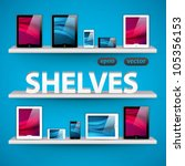 vector shelves with devices  ... | Shutterstock .eps vector #105356153