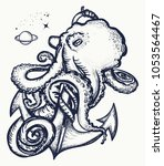 octopus and anchor tattoo.... | Shutterstock .eps vector #1053564467