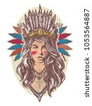 native american woman color... | Shutterstock .eps vector #1053564887
