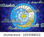 illustration in stained glass... | Shutterstock .eps vector #1053588023