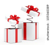 christmas red white gift box with ribbon - stock photo