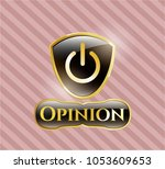 golden badge with power icon...   Shutterstock .eps vector #1053609653