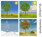 Three dimensional render of the four seasons - stock photo