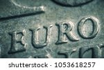 euro letters on the coin. super ... | Shutterstock . vector #1053618257