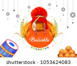 illustration of happy baisakhi... | Shutterstock .eps vector #1053624083