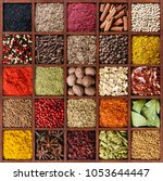 spice background. assortment of ... | Shutterstock . vector #1053644447