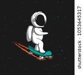 little astronaut rides on... | Shutterstock .eps vector #1053645317