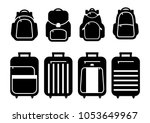 set of suitcases silhouettes... | Shutterstock .eps vector #1053649967