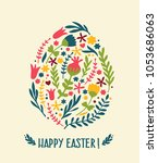 icon easter card with egg from... | Shutterstock .eps vector #1053686063