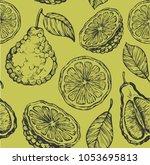 seamless pattern with bergamot... | Shutterstock .eps vector #1053695813