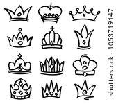 hand drawn princess crowns....   Shutterstock . vector #1053719147