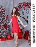 nice ballet dancer in red dress ... | Shutterstock . vector #1053726557