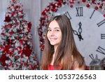 nice ballet dancer in red dress ... | Shutterstock . vector #1053726563