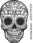 vector human skull with floral ... | Shutterstock .eps vector #1053735137