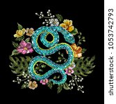 embroidery oriental floral... | Shutterstock .eps vector #1053742793